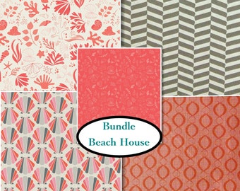 5 prints, The Beach House, Camelot Fabrics, coral, gray, white, multiple quantity cut in one piece, 100% Cotton