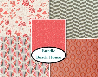 5 prints, The Beach House, Camelot Fabrics, coral, gray, white, 100% Cotton