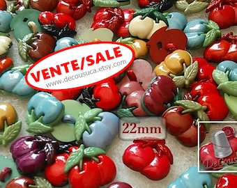 SALE, 25 Cherry buttons MIXTES, 22mm, Mixed Colour Acrylic, 1-Hole Cherry Shank Buttons, vintage, BF19, (Reg 10.00)