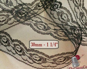 5 yards, Lace vintage, Black, 3cm, 30mm, 1 1/4 inch,  DT51