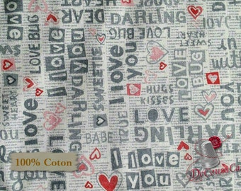 I LOVE YOU, Dear Heart, Studio e, 3591, multiple quantity cut in one piece, 100% Cotton