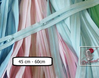 Kit 2 zippers, YKK, 45cm à 60cm, 2 sliders, pink, blue aqua, pouder blue, nylon, with 2 sliders open to the left or right