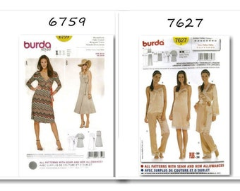 2 models, Burda, Women, 6-30, new, uncut