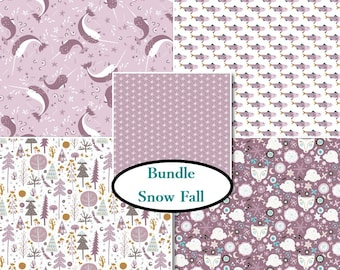 5 prints, Snow Fall, Camelot Fabric, lilac, 1 of each print