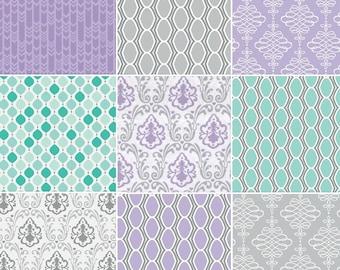 Bundle, 9 FQ, or 9 X 1/4 yard, or 9 X 1/2 yard, 1 of each, Lavishmint, Camelot Fabrics, cotton, (Reg 17.95 - 71.92)
