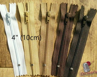 KIt 3 zippers, 10cm, 4 inchs, nylon, perfect for littles wallets, clothing, repair, creation, Z10