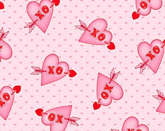 Heart, XO, Love Struck, 1368-22, by Shelly Comiskey, Simply Shelly Designs, Henry Glass & Co, 100% Cotton