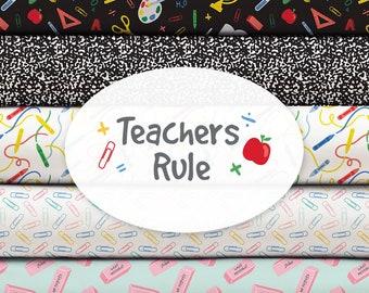 Bundle, 11 prints, Teachers Rules, Camelot Fabrics, 100% cotton, (Reg 41.36-121.11)