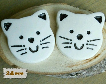 28mm, 2 buttons, Cat, white, Large decorative button, plastic, caséine, BF45