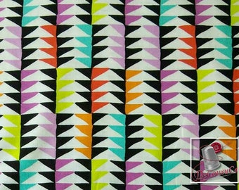 Triangles, black, red, lime, teal, violet, white, Melodies, 6869, Michael Miller Fabrics