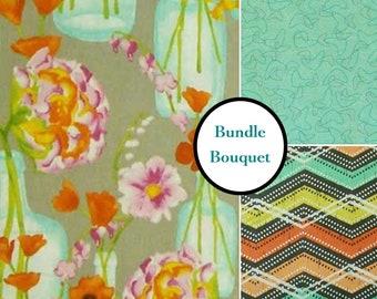 Bundle 3 designs. 1 of esch, Posie Bouquet, orange, turquoise, Michael Miller Fabrics