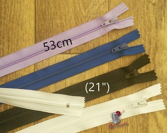 53cm, zipper, #3, (21 inchs), varied color, nylon, perfect for clothing, repair, creation, Z53