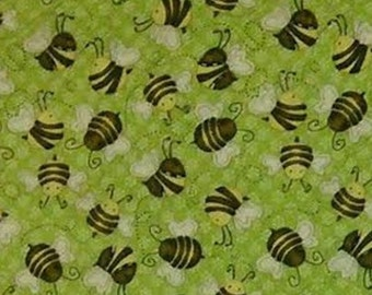 Let it Bee, by Shelly Comiskey, Henry Glass & Co, bee, green, multiple quantity cut in one piece, 100% Cotton