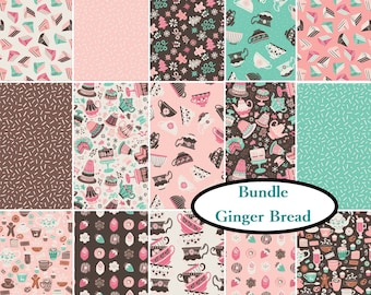 "15 prints, Bundle, Ginger Bread, Camelot Fabrics, FE = 9""X22"", 14 FQ, 1/4 yard, 1/2 yard, 1 of each print,"
