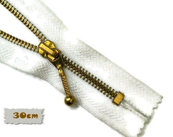 30cm, White, Gold, Zippers, Metal Slider, No. 5, 12 Inch, Decorative Clasp, Non-Detachable, ZC3, (Reg 3.50)