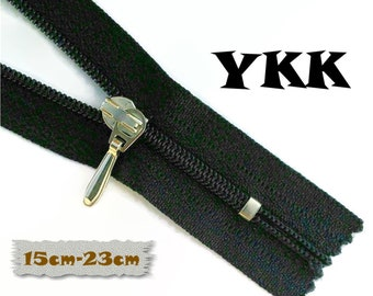 YKK, 15cm to 23cm, Dark Navy, Zippers, Silver Metal Slider, 3C, Decorative Clasp, Non-Detachable, Z100