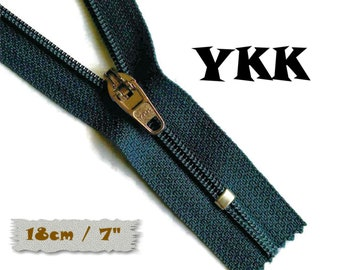 YKK, 18cm, Navy, Zipper, curseur 45c, 7 inchs, Zipper sport, nylon, perfect for wallets, jeans, leather, Z05