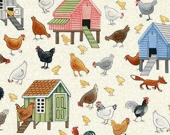 Chicken coop, hen, 2294, Village Life, cotton, cotton quilt, cotton designer