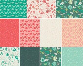 Bundle, 7 or 11 prints, Under the sea, Crabs, fischs, teal, aqua, white, Camelot Fabrics, Bundle, 1 of each print