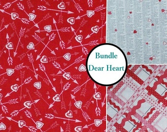 3 prints, 1 of each, Heart, Dear Heart, Studio e, 100% cotton