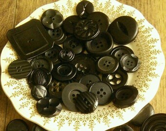 22-30mm, 12 buttons BLACK, Vintage, chic, 2 and 4 holes, or rod, photo example, BM113