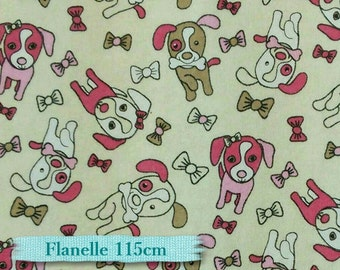 FLANNEL, Dog, puppy, pink, beige,