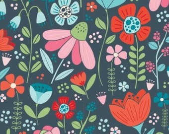 Flowers, tulip, navy background, 61190302, col 03, Enchanted Forest, Camelot Fabrics, 100% Cotton