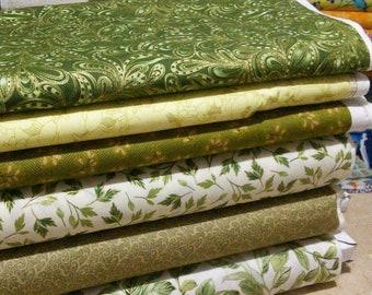 Bundle, 6 designs, Green cotton, 1 of each design