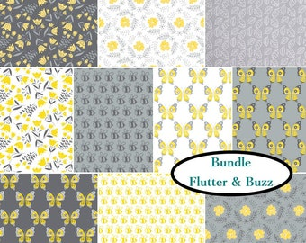 Bundle, 10 FQ, or 10 X 1/4 yard, or 10 X 1/2 yard, 1 of each, With Love, Camelot Fabrics, cotton