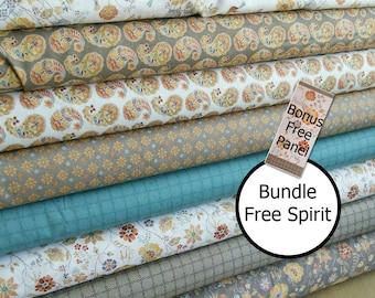 Bundle, 8 motifs, Bundle, 8 prints, Bird cage, flower, beige, 1 of each motif, Free Spirit, Camelot Fabrics,