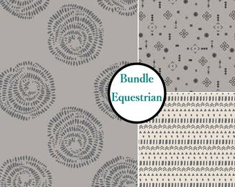 Kit 3 prints, 1 of each print, Equestrian, Camelot Fabrics, Bundle,