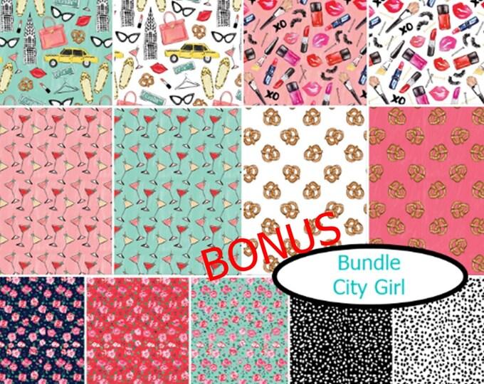 Featured listing image: Bundle, 13 prints, City Girl, Camelot Fabrics