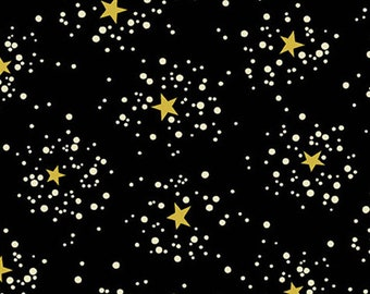Star, golden, black background, 9101, Andover, fabric, cotton, quilt cotton