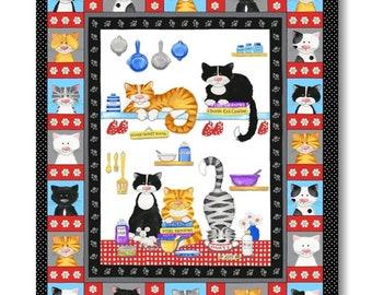 "Panel, Cats, 36"" X 44"", (90cm x 110cm), Cats Meow, 1140P-10, Henry Glass, 100% Cotton"