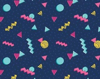 Retro shapes, navy, 27180405, Retro Blast, Camelot Fabrics, cotton, cotton quilt, cotton designer