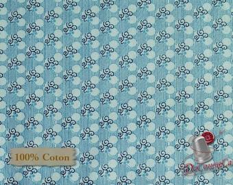 Light blue, Indigo Cottage, 2121, Henry Glass & Co, multiple quantity cut in 1 piece, 100% Cotton, (Reg 2.99-17.99)
