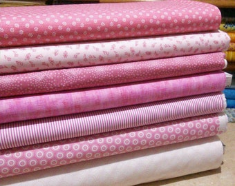 Bundle of 7 prints, Pink Cotton, Quilt Cotton, 1 of each print