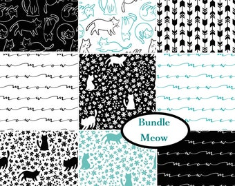 Bundle, 9 prints, 1 of each, Meow, Camelot Fabrics, 100% cotton, quilt cotton