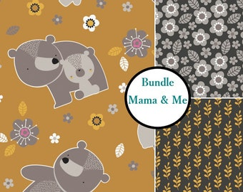Bundle, 3 prints, Bear, flower, leaf, Mama & me, Woodland