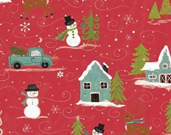 Snowed In, Riley Blake, Christmas fabric 100% cotton, #10810 RED