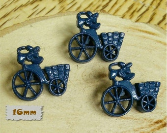 3 + 3 = 6 Buttons, 16mm, tricycle with basket, navy, Vintage, 1980s, GR05