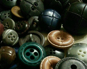 50 buttons leather, 1950-1970, colors various, different sizes, photo example, BA102