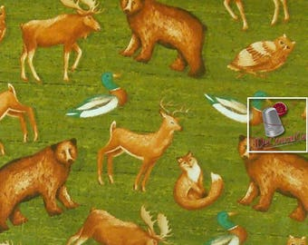 Wild animals, 100% cotton, Wild Woods, 41120, multiple quantity cut in one piece, (Reg 2.99-17.99)