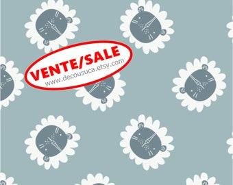 50%, Lions, dusty blue, 9140703-01, Camelot Fabrics, multiple quantity cut in one piece, Cotton, (Reg 3.76-21.91)
