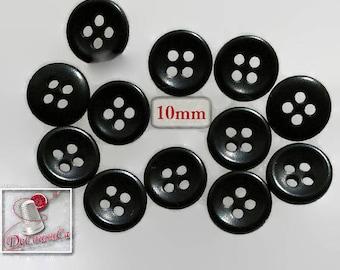 12 Buttons, 10mm, black, 4 holes, vintage, celluloîd, caséine, 1980, BA19