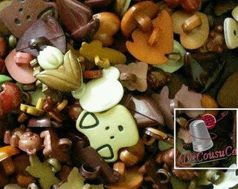 25 Fancy buttons, Brown, dog, turtle, tulip, cherry, frog, bear, boat, heart, etc., BF60,