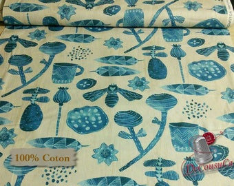 Dreamer, blue, cream, 100% coton, Windham Fabrics, Dreamer, by Carrie Blomston, 42571, Pueblo Stripe