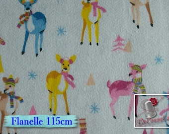 Flannel, Reindeer, white, Camelot Fabrics, many yards will be cut as one piece, (Reg 2.99 - 12.95)