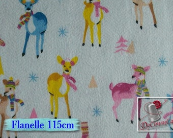 Flannel, Reindeer, white, Camelot Fabrics, many yards will be cut as one piece, Flannel 100% high quality cotton