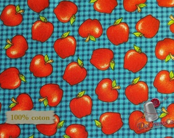 END OF BOLT, Apple, School Zone, Studio E, 4138, multiple quantity cut in one piece, 100% Cotton
